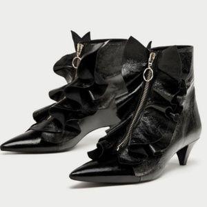 🎈Zara Real Leather Ruffled Boots, EUC, Sz 8